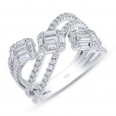 WHITE GOLD CONTEMPORARY CRISS CROSS DIAMOND RING